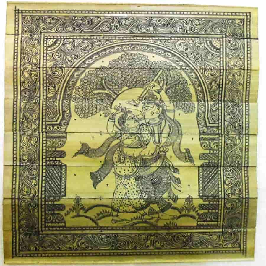 radha krishna painting on palm leaf