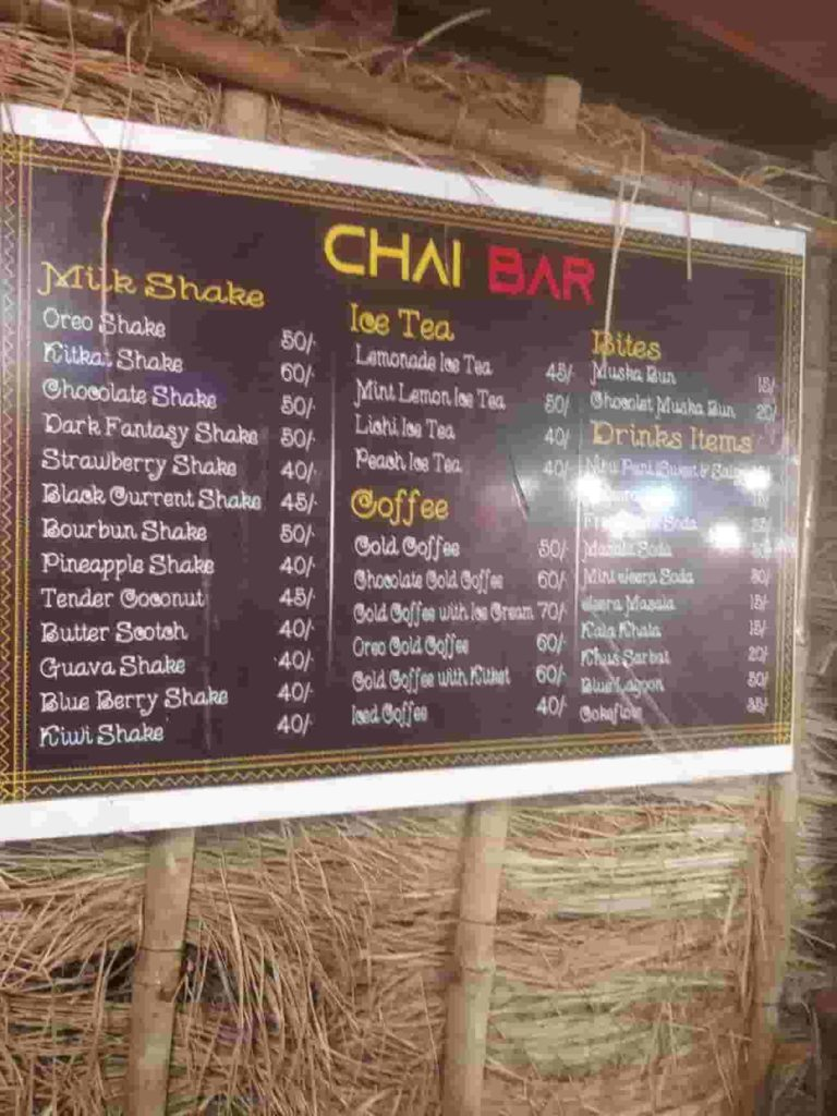 Chai Bar Menu