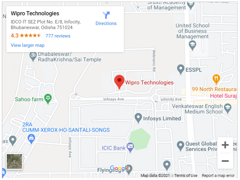 Google map for Wipro, Bhubaneswar, Odisha