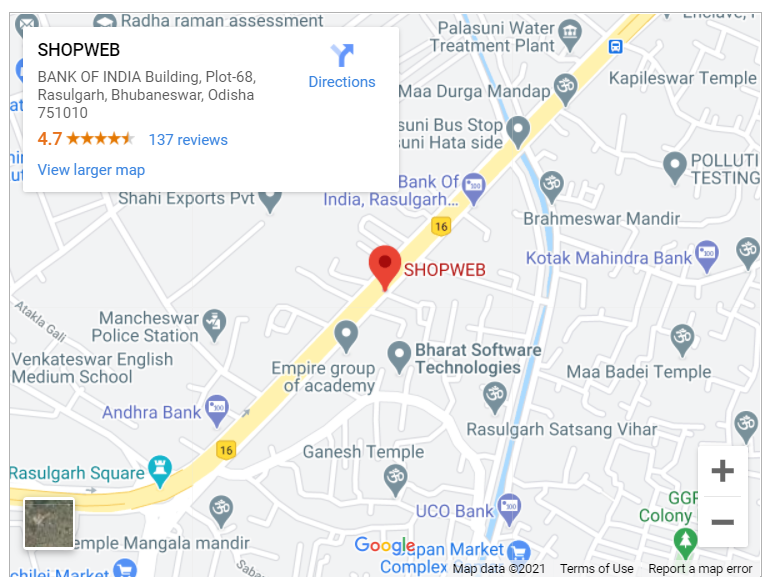 Google map for Shopweb, Bhubaneswar, Odisha