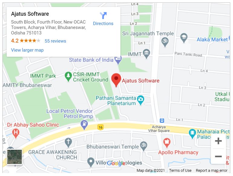 Google map for Ajatus Software, Bhubaneswar, Odisha
