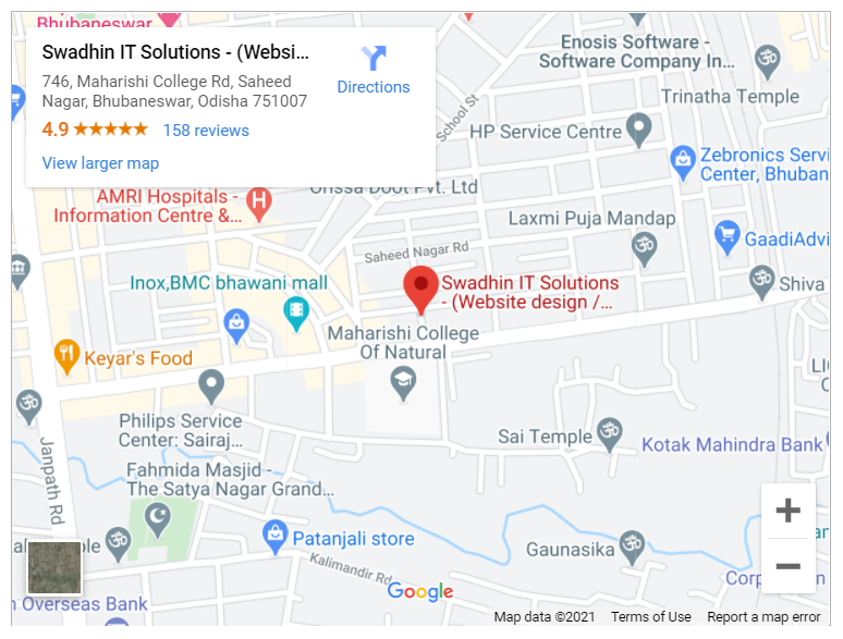 Google map for Swadhin IT Solutions, Bhubaneswar, Odisha