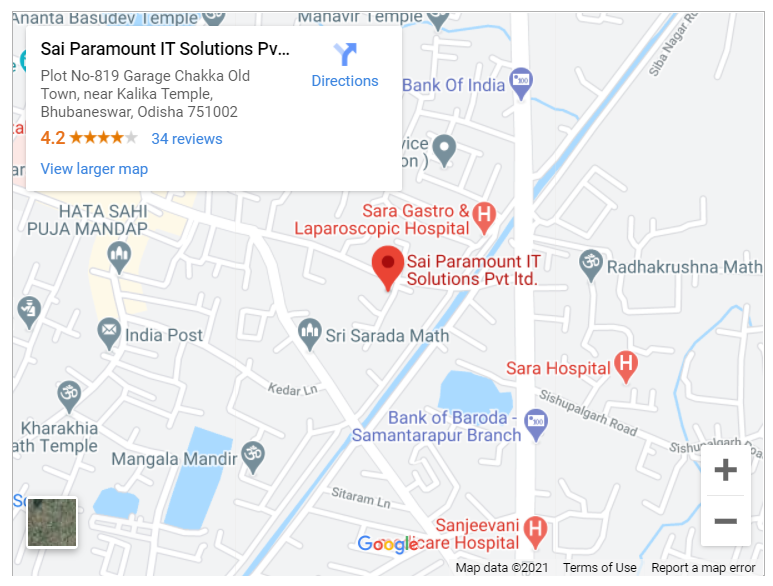 Google map for Sai Paramount IT Solutions Pvt Ltd., Bhubaneswar, Odisha
