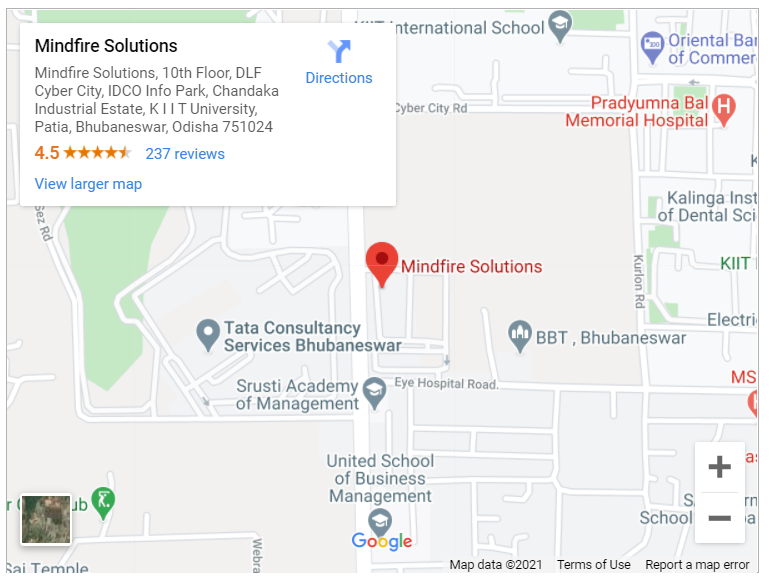 Google map for Mindfire Solutions, Bhubaneswar, Odisha