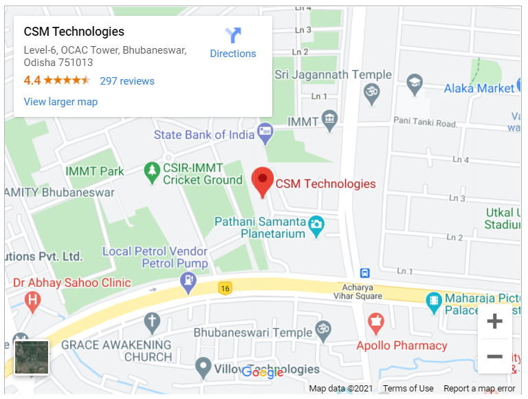 Google map for CSM Technologies, Bhubaneswar, Odisha