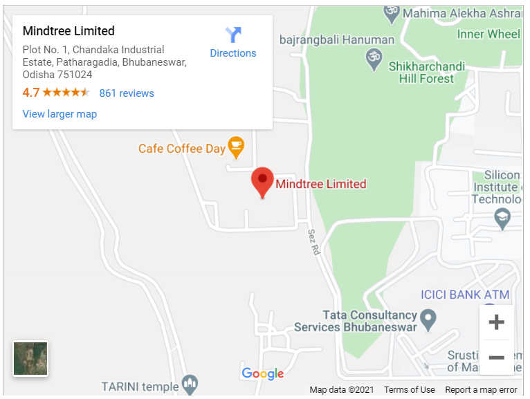 Google map for Mindtree Limited, Bhubaneswar, Odisha