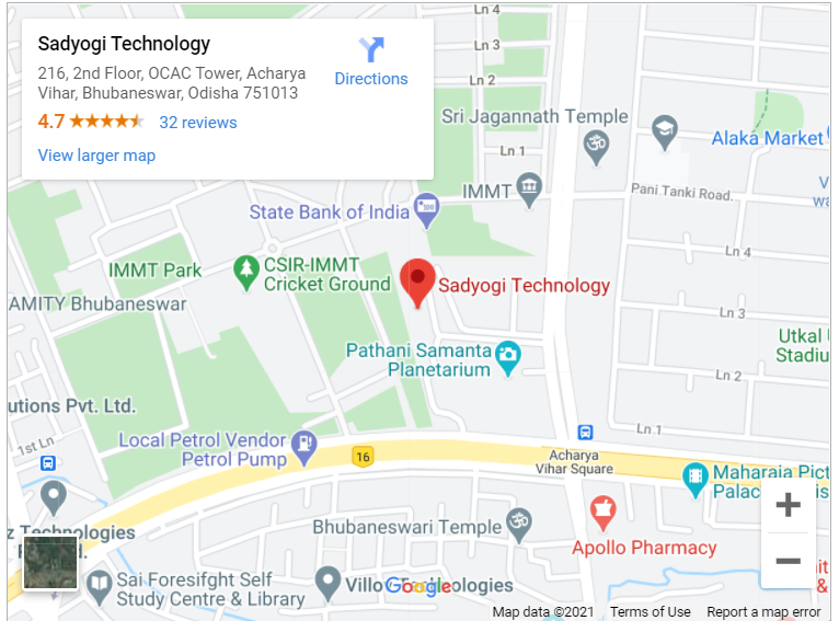 Google map for Sadyogi Technology, Bhubaneswar, Odisha