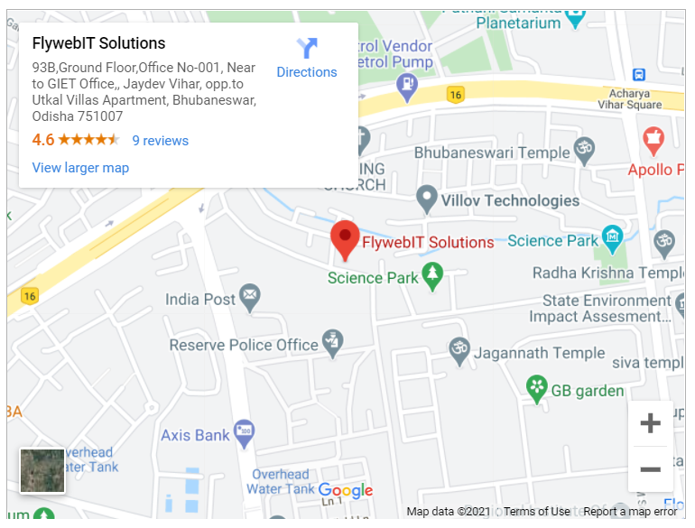 Google map for Flyweb IT Solutions, Bhubaneswar, Odisha