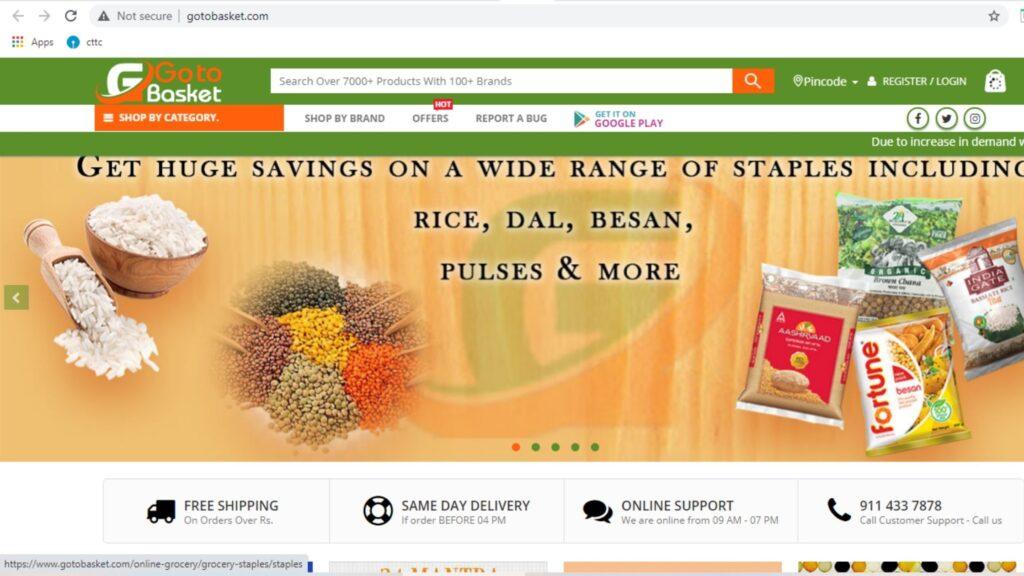 Gotobasket online grocery in bhubaneswar