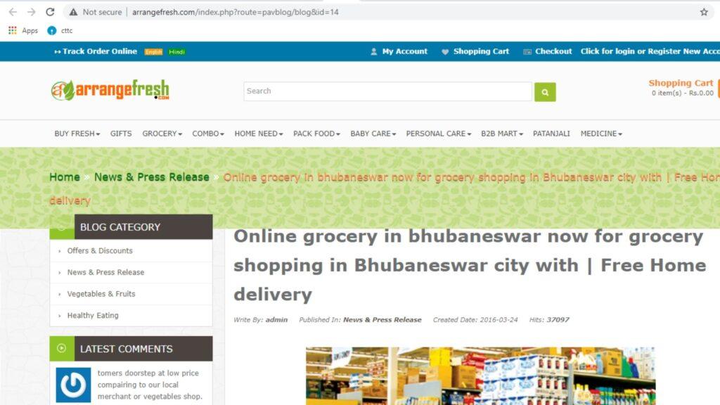 Arrangefresh online grocery in bhubaneswar