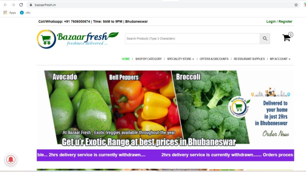 Bazzarfresh online grocery in bhubaneswar