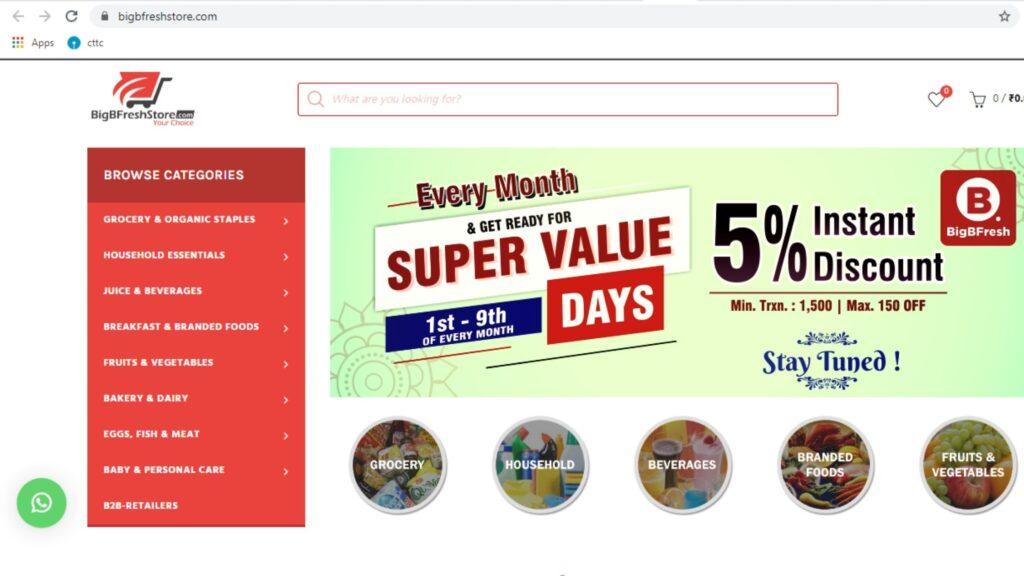 Bigbfreshstore online grocery in bhubaneswar